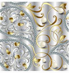3d jewellery ornate diamonds seamless pattern vector