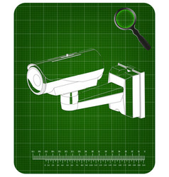 3d model of surveillance camera on a green vector image