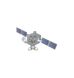 A happy satellite network speaking on phone vector