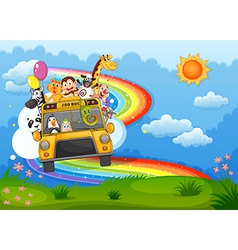 A zoo bus at the hilltop with a rainbow in the sky vector