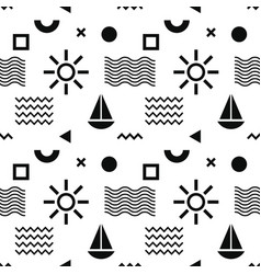 abstract pattern with sun boat and geometric vector image