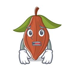Afraid cacao bean mascot cartoon vector