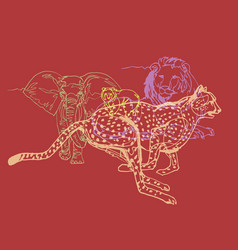 animals collection color line art vector image