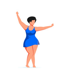 attractive woman plus size dancing in swimming vector image