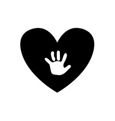 Baby handprint inside of black heart isolated on vector