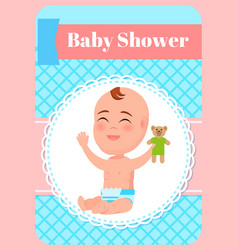 bashower poster infant sitting with teddy bear vector image