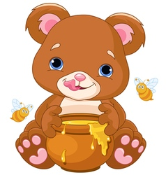 Bear Holds Honey Jar vector