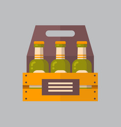 beer bottles box icon oktoberfest festival concept vector image