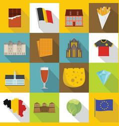 Belgium travel icons set flat style vector
