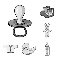 Birth of a baby monochrome icons in set collection vector