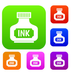 black ink bottle set color collection vector image