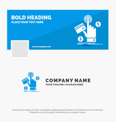 Blue business logo template for ppc click pay vector
