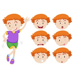 Boy and facial expressions vector