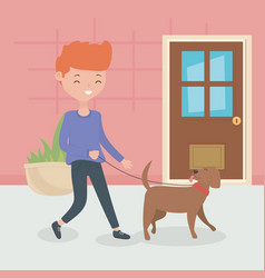 Boy with dog walking in room pet care vector