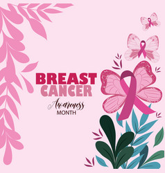 breast cancer awareness month leaves nature vector image