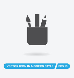 brush ruler pencil icon simple car sign vector image