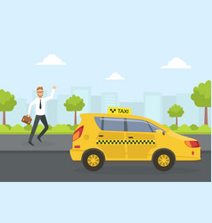 businessman trying to catch a taxi cab in the vector image
