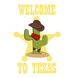 cactus cowboy on a white background flat style vector image