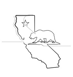 california republic one continuous line emblem vector image