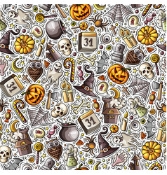 cartoon cute hand drawn halloween seamless pattern vector image