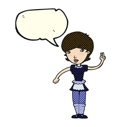 Cartoon waitress taking order with speech bubble vector