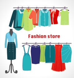 Clothing store Boutique indoor Fashion store vector