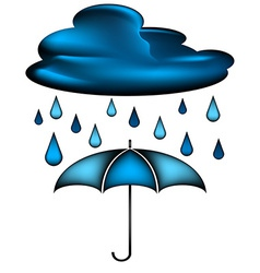 Cloud with rain water drops and blue umbrella vector image