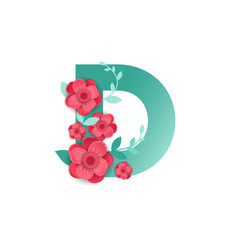 Color letter d with beautiful flowers vector