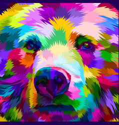 Colorful bear close up vector