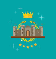 crown and castle with monarch symbols vector image