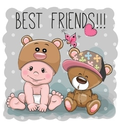 Cute cartoon baby and Teddy Bear vector