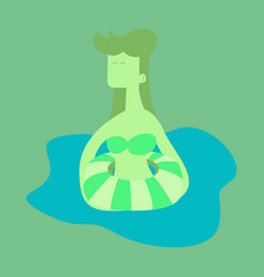 Cute funny girl in a rubber swimming cap vector