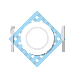 Cutlery top view Blank White Plate fork and knife vector image