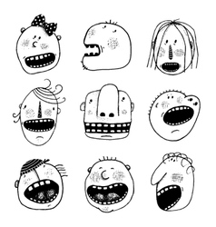 Doodle Outline Cartoon People Faces Heads Set vector image