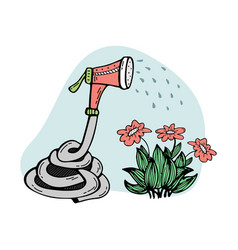 Doodle with a watering hose watering a flower vector