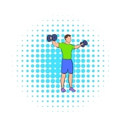 Dumbbell lateral raises icon comics style vector