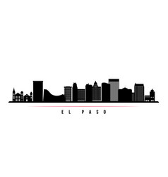 el paso skyline horizontal banner black and white vector image