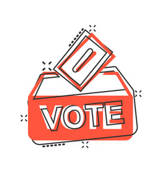 Election voter box icon in comic style ballot vector
