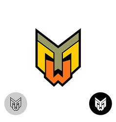 Evil daemon robot tech face logo Letters Y M and W vector