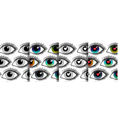 Eyes seamless patterns set for textile prints vector
