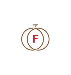 f letter ring diamond logo vector image