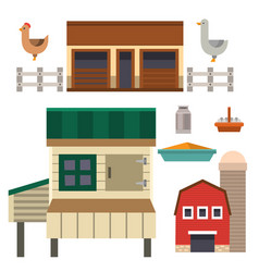 Farm house food outdoor barn building clean meadow vector
