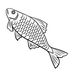 Fish icon in outline style isolated on white vector image