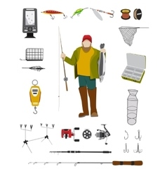 Fisherman and fishing tackle flat icon set vector