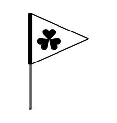 Flag with Saint patricks clover icon vector