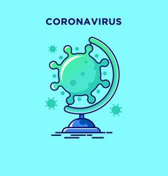 Flat design globe corona virus icon vector