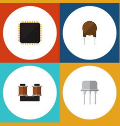 flat icon device set of resist triode cpu and vector image