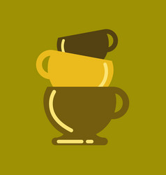 Flat icon on background coffee three cups vector