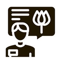 Flower shop seller consultant icon glyph vector