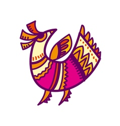 Folk style pink and yellow bird vector